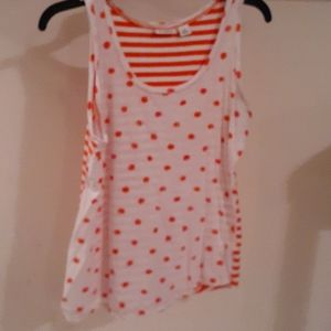 Orange/White Polka Dot/Striped CATO Tank